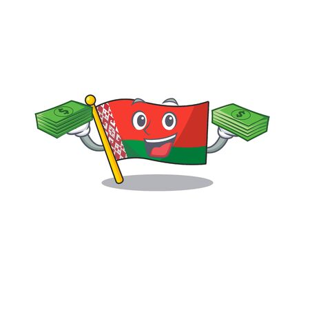 flag belarus isolated with the holding money cartoon vector illustration