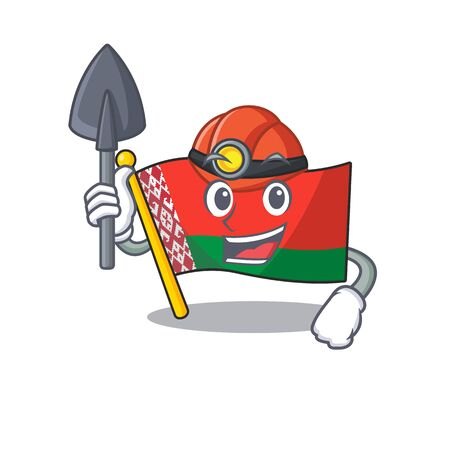 flag belarus isolated with the miner cartoon vector illustration Stock Illustratie
