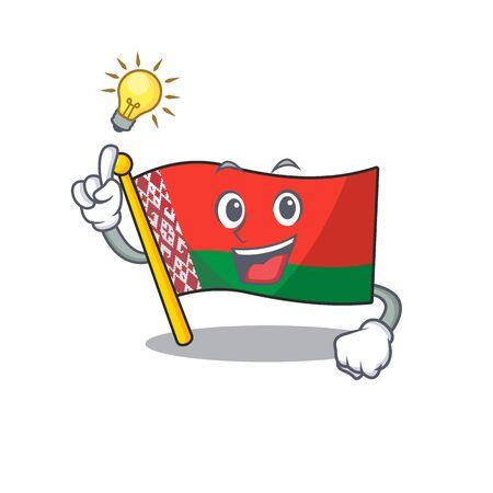 Happy flag have an idea belarus cartoon character style vector illustration