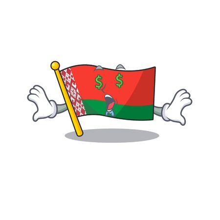 Happy flag money eye belarus cartoon character style vector illustration 일러스트