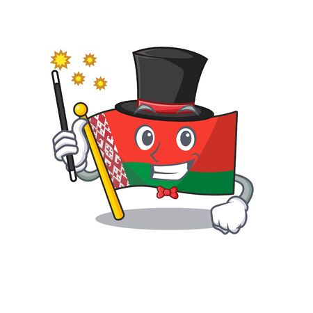 Happy flag magician belarus cartoon character style