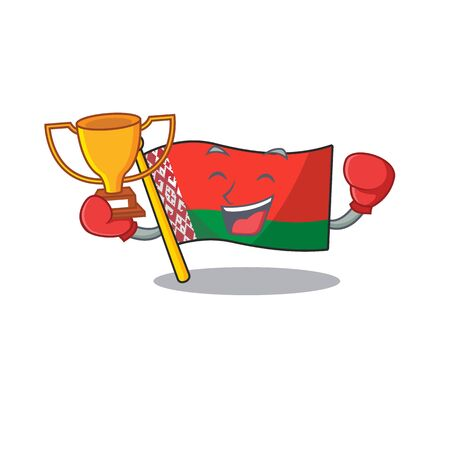 Happy flag boxing winner belarus cartoon character style