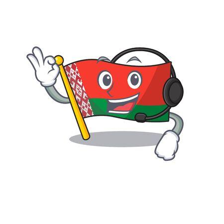 Happy flag with headphone belarus cartoon character style 일러스트