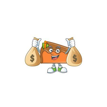 Slice cake chocolate with the mascot holding money bag. Vector illustration Ilustração