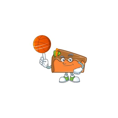 Slice cake chocolate with the mascot holding basketball. Vector illustration