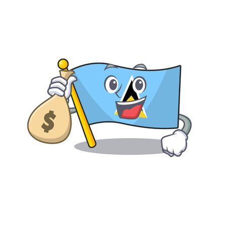 flag saint lucia on the holding money bag character vector illustration
