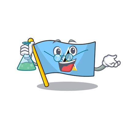 professor flag saint lucia with character shape