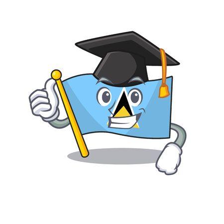 graduation hat flag saint lucia with character shape vector illustration