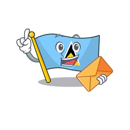 bring envelope flag saint lucia with character shape vector illustration