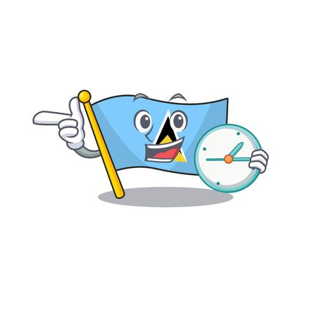 with bring clock flag saint lucia with character shape vector illustration