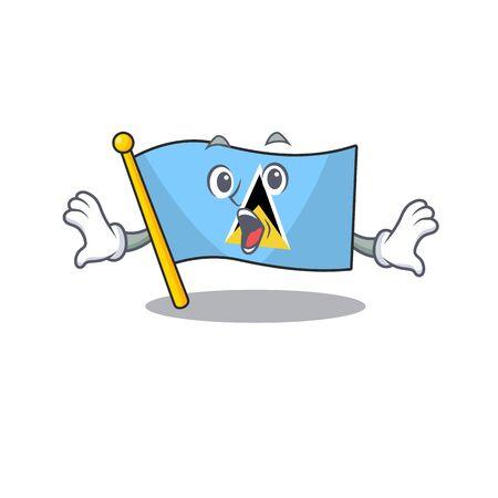 vector flag saint lucia in surprised mascot. illustration vector Illusztráció