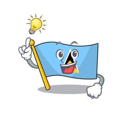flag saint lucia on the have an idea cartoon Ilustracja