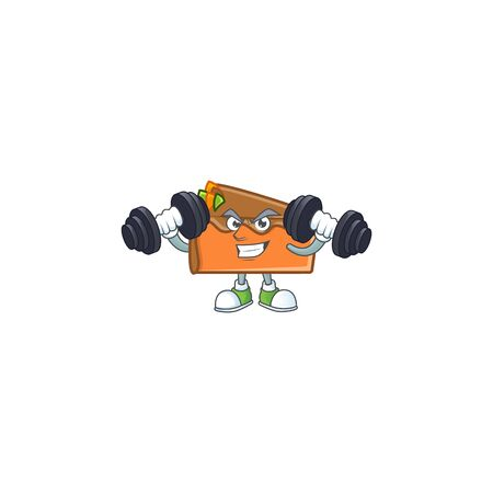 Slice cake chocolate with the mascot with bring barbell. Vector illustration