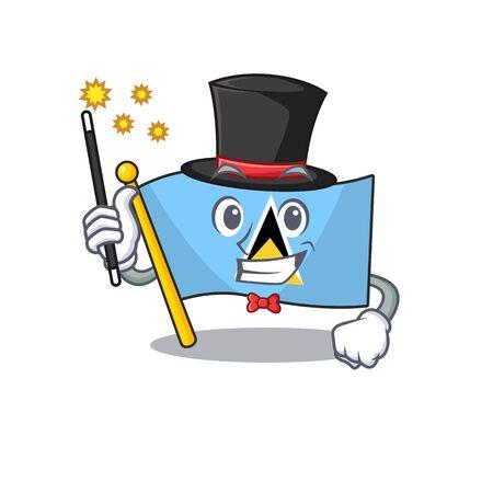 flag saint lucia on the magician cartoon