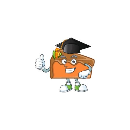 Dessert slice cake cartoon character mascot graduation hat. Vector illustration