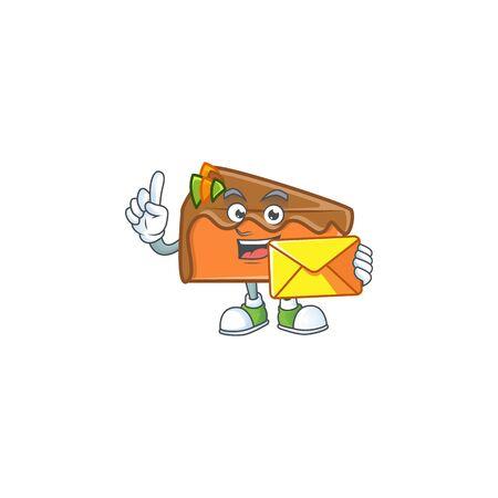 Dessert slice cake cartoon character mascot bring envelope. Vector illustration