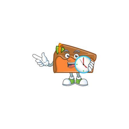 Dessert slice cake cartoon character mascot with bring clock. Vector illustration
