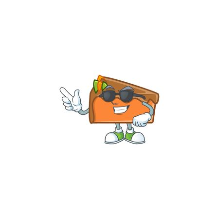 Dessert slice cake cartoon character mascot super cool. Vector illustration Vectores