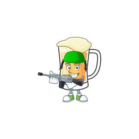 Cute mug of beer with army mascot. Vector illustration