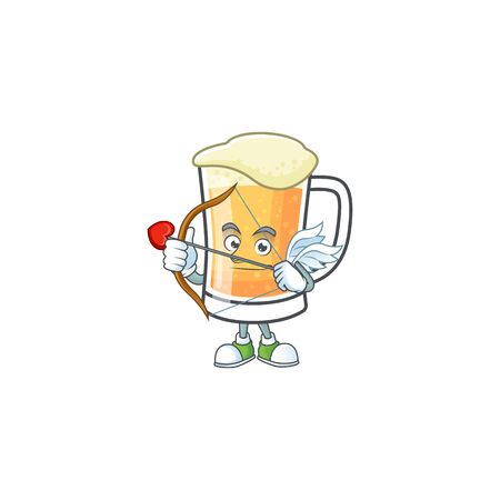 Cute mug of beer with cupid mascot. Vector illustration