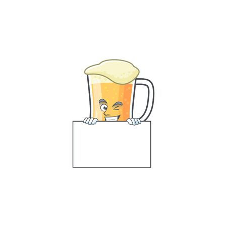 Cute mug of beer with squinting with board mascot. Vector illustration