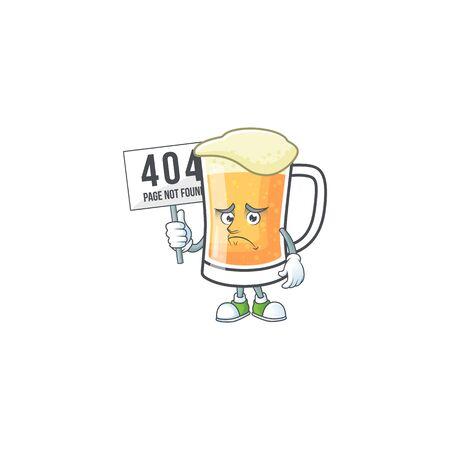 Cute mug of beer with pouting bring board mascot. Vector illustration Ilustração
