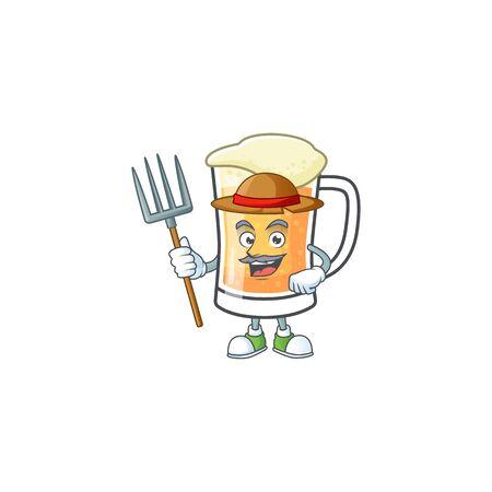 Cute mug of beer with farmer mascot. Vector illustration Ilustração
