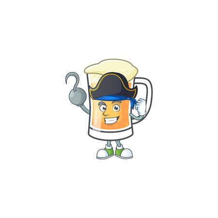 Cute mug of beer with pirate mascot. Vector illustration