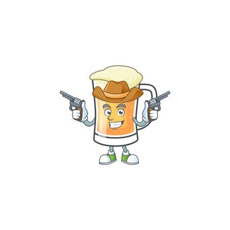 Cute mug of beer with cowboy mascot. Vector illustration