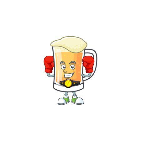 Cute mug of beer with boxing mascot. Vector illustration