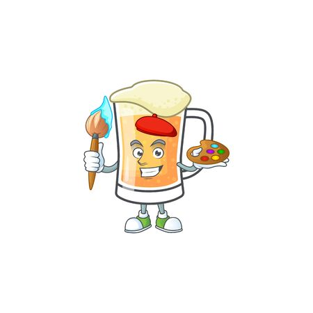 Cute mug of beer with painter mascot. Vector illustration Ilustração