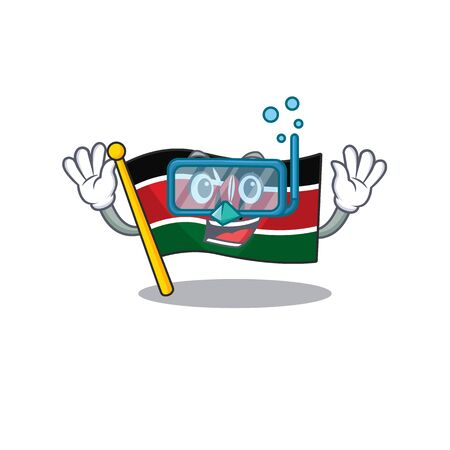 Flag kenya isolated diving mascot on cartoon vector illustration