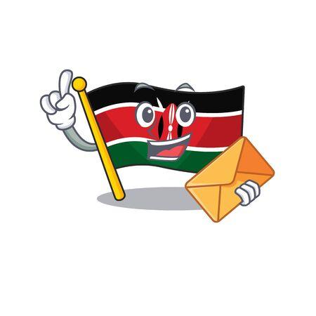 Flag kenya isolated bring envelope mascot on cartoon vector illustration