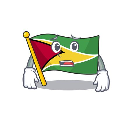 Afraid flag guyana as with cartoon design vector illustration Ilustracja