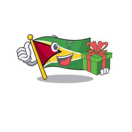 Holding gift flag guyana as with cartoon design vector illustration