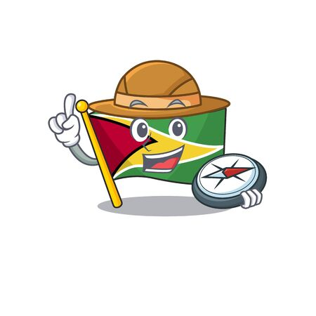 Holding compass flag guyana as with cartoon design vector illustration