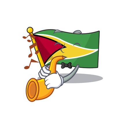 With trumpet flag guyana as with cartoon design vector illustration  イラスト・ベクター素材
