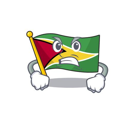 Angry flag guyana as with cartoon design vector illustration  イラスト・ベクター素材