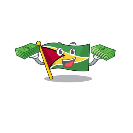 Holding money flag guyana as with cartoon design vector illustration