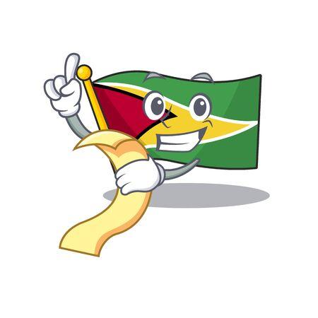 Holding bill flag guyana as with cartoon design vector illustration Ilustracja