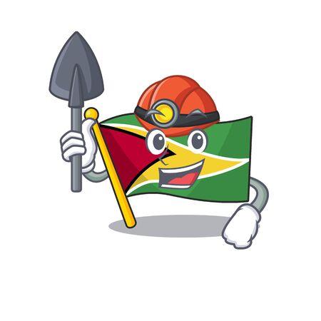 Miner flag guyana as with cartoon design vector illustration