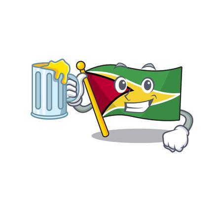 Holding juice flag guyana as with cartoon design vector illustration