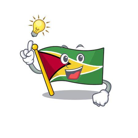 Confident flag guyana have an idea cartoon character style vector illustration 向量圖像