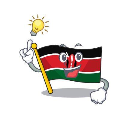 cute flag kenya character smiley have an idea cartoon vector illustration 向量圖像