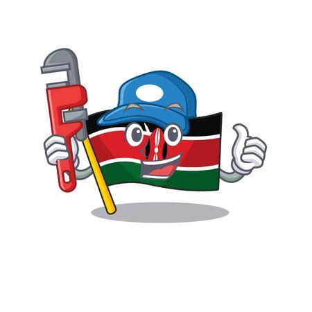 cute flag kenya character smiley plumber cartoon vector illustration