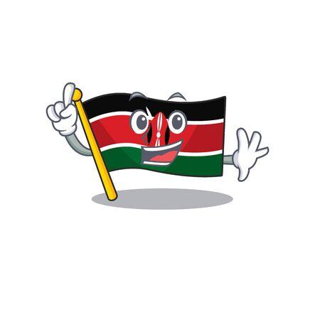 cute flag kenya character smiley finger cartoon vector illustration Ilustrace