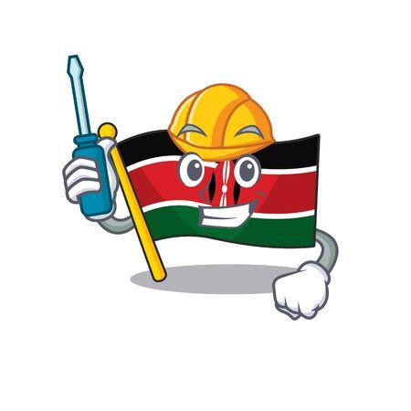 cute flag kenya character smiley automotive cartoon vector illustration