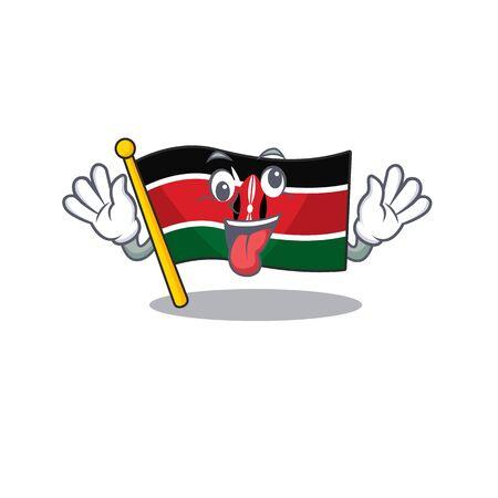 cute flag kenya character smiley bring gift cartoon vector illustration Illustration