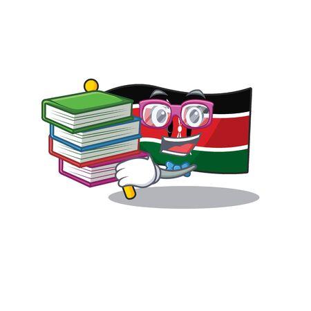 cute flag kenya character smiley student bring book cartoon vector illustration Vector Illustration