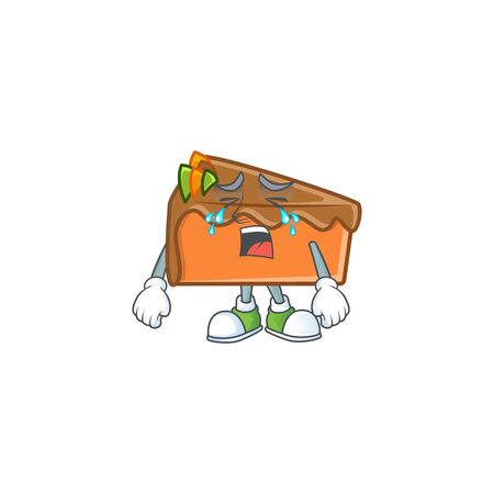 Slice cake in the cartoon character crying. Vector illustration Vecteurs
